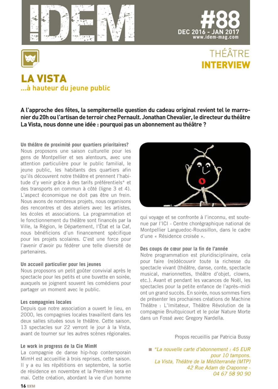 Interview Magazine Idem Jan 16 Fev 17 La Vista